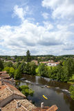 Rooftops and river in idyllic village, Bourdeilles, Dordogne, France Stock Images
