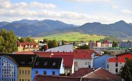 Rooftops of Ruzomberok old town. RUZOMBEROK, SLOVAKIA - SEPTEMBER 16: Rooftops of Ruzomberok town, Slovakia on September 16, 2018 stock images