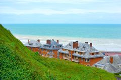 Rooftops on sea horizont in Dieppe in Seine Maritime department in the Normandy region of northern France stock photo