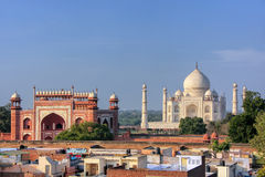 Rooftops of Taj Ganj neighborhood and Taj Mahal in Agra, India Royalty Free Stock Images