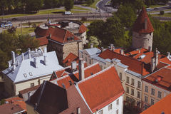 Rooftops of Tallinn. Panorama from the height of the rooftops of Tallinn Sunny summer day Royalty Free Stock Image