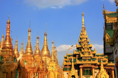 Rooftops of the temples, Shwedagon Pagoda complex, Yangon, Myanm Royalty Free Stock Images