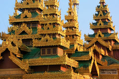 Rooftops of the temples, Shwedagon Pagoda complex, Yangon, Myanm Stock Images