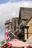 Rooftops and Union Jack, Bourton on the Water. Stock Photography
