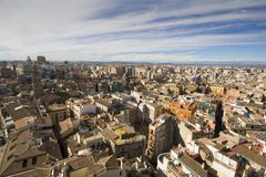 Rooftops of Valencia, Spain. View from on top of the Cathedral in Valencia, Spain, with view of the mountains in the distance Stock Images
