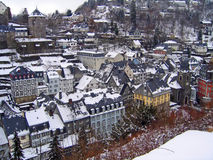 Rooftops winter Monschau Germany. Rooftops in Monschau winter, Germany Royalty Free Stock Photo
