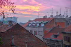 Rooftops Zagreb royalty free stock photos