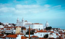 Rooftopspanorama of the oldest district Alfama in Lisbon, Portugal stock image