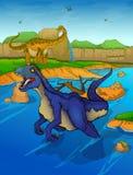 Roofvogel op de rivierachtergrond stock illustratie