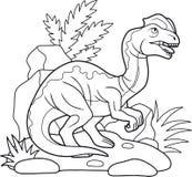 Roofzuchtige Dilophosaurus, lineaire illustratie Royalty-vrije Stock Fotografie