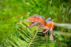 Roofzuchtige dinosaurus met reusachtige tanden Beeldje van een dinosaurus en a stock foto's