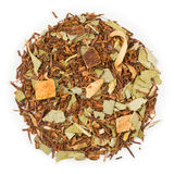 Rooibos Orange Eucalipt tea. Rooibos Orange Eucalipt raw tea blend on pure white Royalty Free Stock Images
