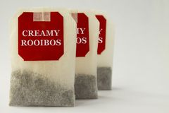 Rooibos tea bags stock photo