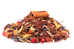 Rooibos tea with cinnamon and fruits Royalty Free Stock Photo
