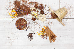 Rooibos tea. Dried Rooibos tea and ingredients Royalty Free Stock Image