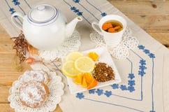 Rooibos tea with ensaimada royalty free stock photo