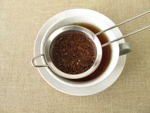 Rooibos tea in tea strainer Stock Photo