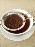 Rooibos tea in tea strainer Royalty Free Stock Photography