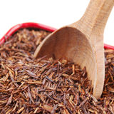 Rooibos in tea tin box closeup Royalty Free Stock Photo