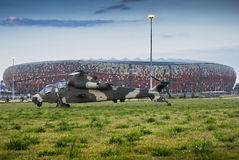 Rooivalk Helicopter and Soccer City Royalty Free Stock Image