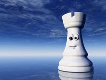 Rook. White chess rook with comic face under cloudy blue sky - 3d illustration Royalty Free Stock Image