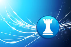 Rook Chess Button on Blue Abstract Light Background Stock Images