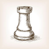 Rook chess piece hand drawn sketch style vector Royalty Free Stock Photos