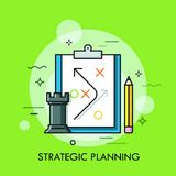 Rook chess piece, pencil and strategic plan drawn on paper sheet. Planning of business strategy and future development stock illustration