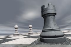 A rook on a chessboard crashes. 3d rendering Stock Photo