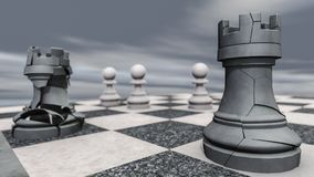 A rook on a chessboard crashes. 3d rendering Royalty Free Stock Photo