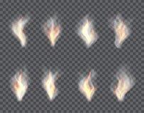 Rook en brand Reeks transparante gevolgen voor een plaidachtergrond Stock Foto's