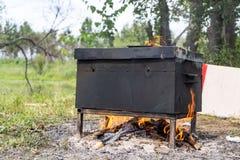 Rook en stoomstijging van een varkensvleeslapje vlees Royalty-vrije Stock Afbeelding