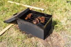 Rook en stoomstijging van een varkensvleeslapje vlees Stock Afbeeldingen