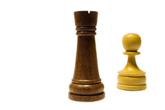 Rook and Pawn. White pawn against the black rook in a chess duel stock images