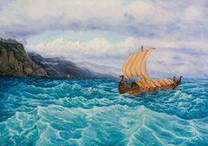 The rook with the vikings sailing along the rocky coast. Oil painting on canvas. The rook with the vikings sailing along the rocky coast Stock Photography