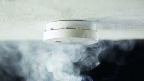 Rookdetector op het plafond stock footage