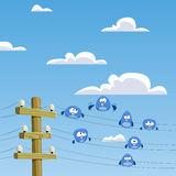 Rookery. A flock of birds sitting on wires, vector Stock Photography