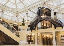 Rookery budynek, Chicago, IL - Sierpień 3, 2017: Lekki sądu lobby Rookery budynek, Południowy LaSalle St, pętla teren, Chicago, C zdjęcia stock