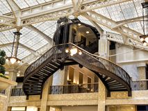 Rookery Building, Chicago, IL - August 3, 2017: Light court lobby of the Rookery Building, South LaSalle St, Loop area, Chicago, C Royalty Free Stock Photography