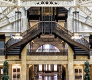 Rookery Building, Chicago, IL - August 3, 2017: Light court lobby of the Rookery Building, South LaSalle St, Loop area, Chicago, C Stock Photo