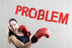 Rookie boxer girl solving problems Royalty Free Stock Images