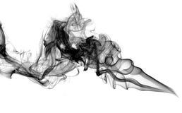 Rookwolk van zwarte abstracte rook over wit royalty-vrije stock afbeelding