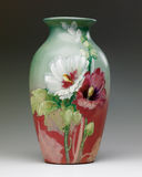 Rookwood Vase with Hollyhock design. Arts and Craft Era Art Pottery Stock Images