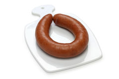 Rookworst, dutch smoked sausage Royalty Free Stock Images