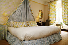Room. Interior bedroom, feather bed, window Stock Photos