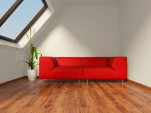 Room. White room with red sofa Stock Photos