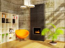 Room. Modern interior room with orange armchair Stock Images