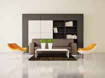 Room. Modern interior room with nice furniture inside Stock Images