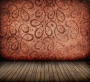 Room. Red patterns vintage interior with wood floor Royalty Free Stock Photography