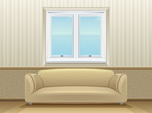 Room. Sofa and a wall with window in the room Royalty Free Stock Photo